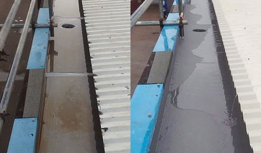 gutter lining before and after