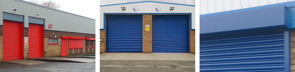 red blue roller shutters painting