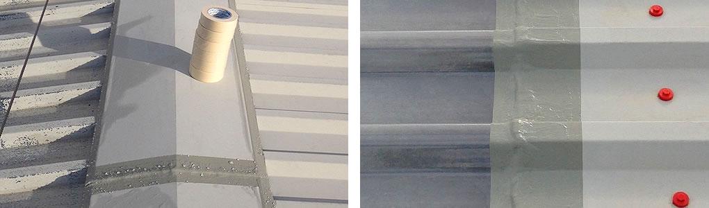 ridge capping masking tape rooflight sheet lap cut edge treatment