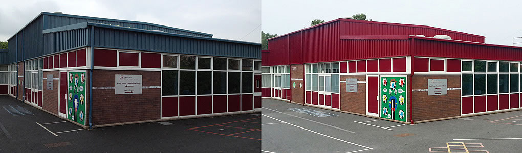 school wall cladding painting before after