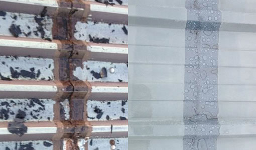 cut edge corrosion roof before after