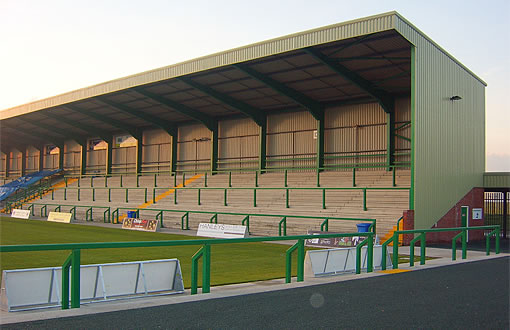 football stadium steel painting green northwich