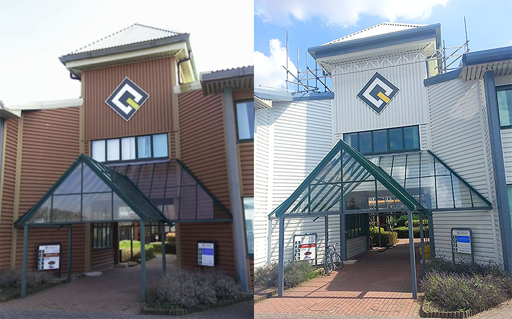 The Quadrant Chester entrance before and after cladding coating