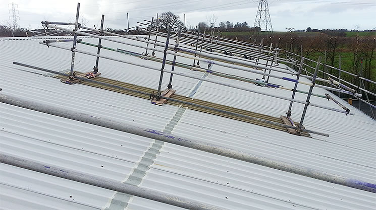 roof scaffolding installed for safety