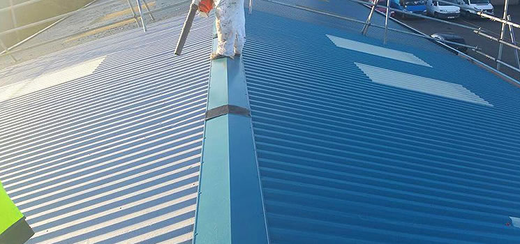 roof coating chester solent blue paint by AkzoNobel.
