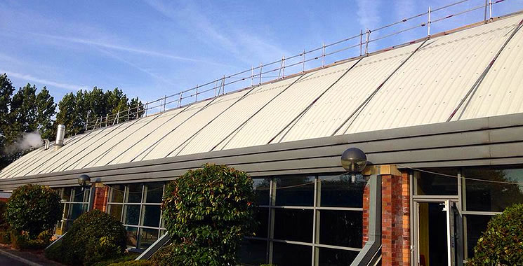 scaffolding installed on curved roof in manchester