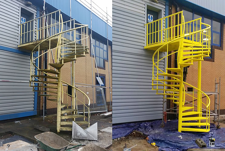 yellow fire escape industrial painting before after