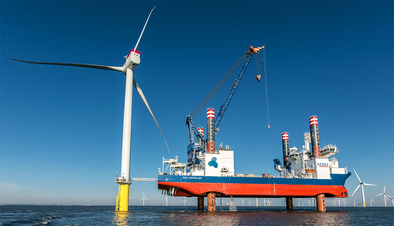 offshore wind turbine sea installer ship