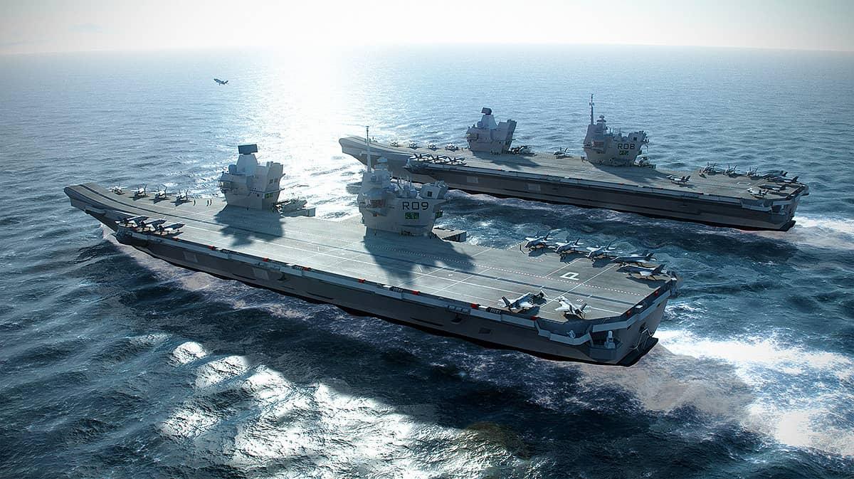 hms queen elizabeth aircraft carrier at sea