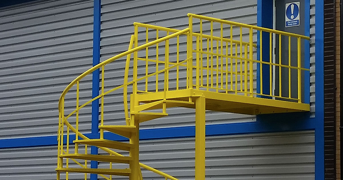 external steel stairway fixture painted