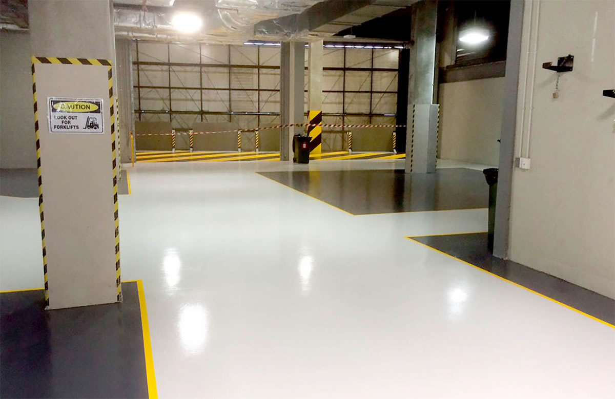 flowcrete concrete flooring installed