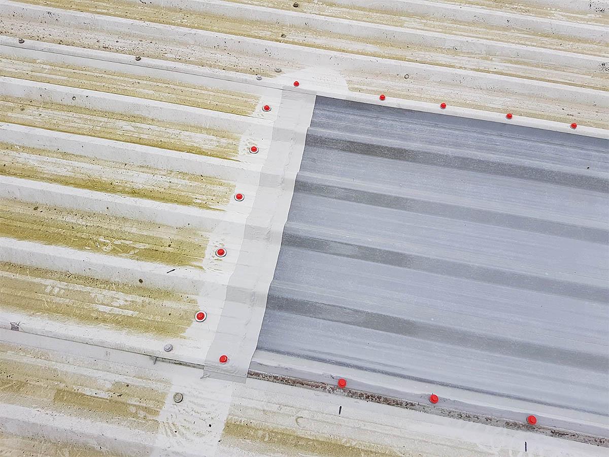 skylight roof sheet overlap treated