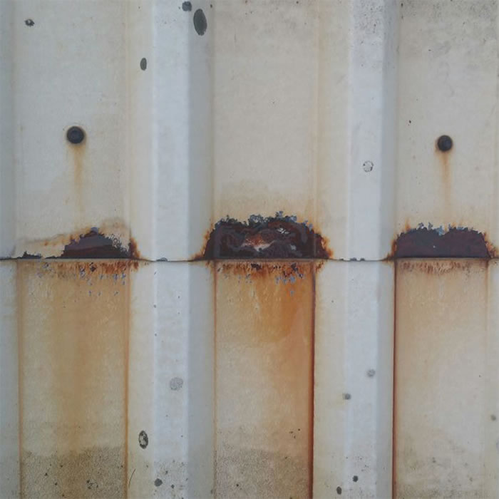 early stages roof sheet cut edge corrosion developing