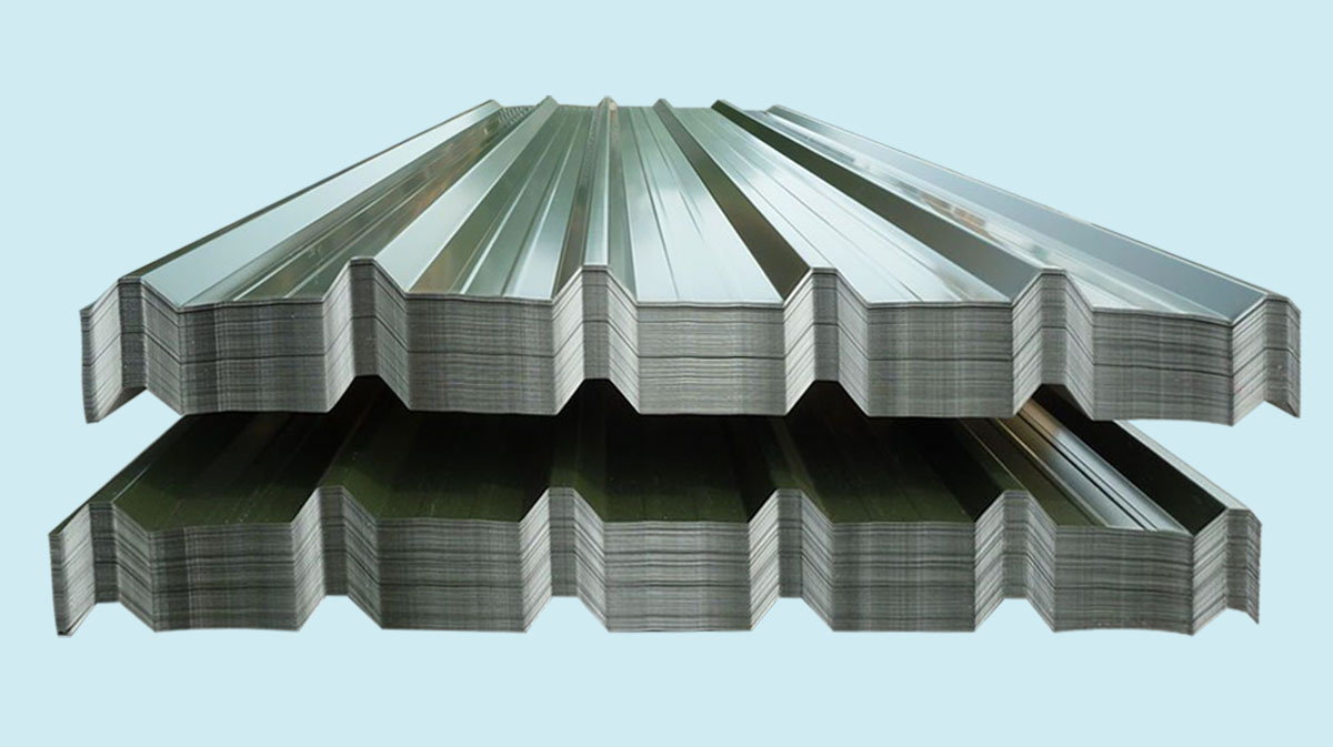 corrugated steel roof sheets stacked